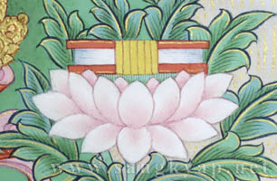 Text on a lotus flower